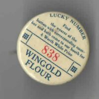 Vintage pin Wingold FLOUR pinback BAKING Kitchen Bakery LUCKY NUMBER Premium