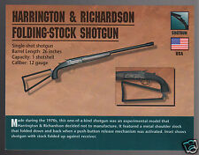 HARRINGTON & RICHARDSON H&R FOLDING STOCK SHOTGUN 12 Gauge Gun ATLAS PHOTO CARD