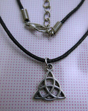 New Wax Cord Tibetan Silver Power Of Three Triquetra Celtic Knot Charm Necklace