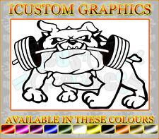 british english bulldog terrier gym weight lifting vinyl car sticker wall art