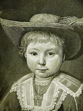 Cuyp DUTCH BOY Cross on Neck & FEATHER in HAT 1888 Antique Engraving Matted
