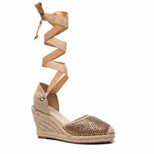 Womens Ladies Chunky Sole Wedge Heel Tie up Espadrilles Sandals Shoes Size 3-8 UK 4 Bronze-gold