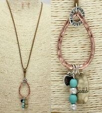 Love Hope and Peace Copper FASHION Necklace Set