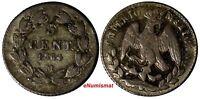 Mexico EMPIRE OF MAXIMILIAN Silver 1864 M 5 Centavos SCARCE KM# 385.1