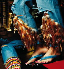 GUCCI TOM FORD RARE & ICONIC FEATHER AD & RUNWAY JEANS NEW