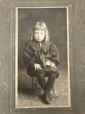 Antique Photo Young Long Haired Boy In Sailor Suit With Ringlets