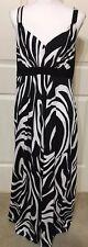 JFW size 1X black & white animal print slinky sleeveless maxi dress women's