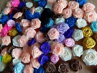 40pcs Ribbon Roses Buds Mix Color Appliques Craft Lots Wedding Decoration DIY