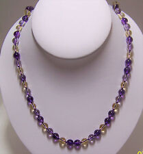 "New  8mm Amethyst  & 8mm Citrine bead necklace with gold filled clasp  24"" ."