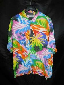 Jams World XXL 2X Eclair Floral Hawaiian Shirt Rayon Aloha Blue Orange Yellow