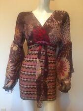 M Missoni Combo floral Chiffon and knit  puff sleeve Mini Dress $795 New