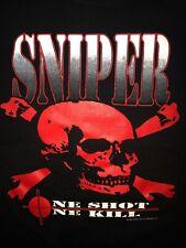 Vintage 1995 Sniper T-Shirt Adult XL Black Skull Crossbones 90s VTG