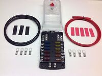 12 Way Blade Fuse box + negative bus bar with Cables Terminals + Mixed Fuses