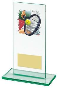 160mm jade glass Tennis Award (RRP £8.95) engraved and postage free
