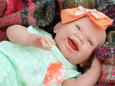 "CUTE BABY GIRL SMILING DOLL ALIVE REBORN BERENGUER 15"" VINYL SILICONE LIFE LIKE"