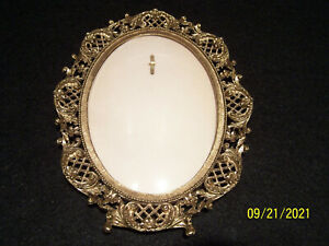 Vintage Victorian Brass Oval Bubble Glass Picture Frame, James Papalia 1967