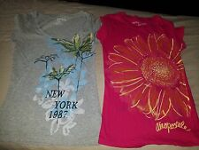 LOT of 2 Aeropostale Flower T-shirts Womens juniors SMALL S Floral