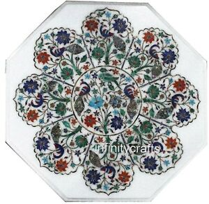 Marble Coffee Table Top Floral Pattern Inlaid Corner Table for Home 21 Inches