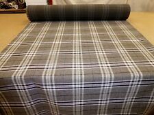 GREY with Brown - Tartan Check Wool / Tweed Effect Upholstery Fabric