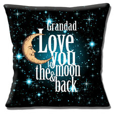 Grandad LOVE YOU to the Moon & Indietro Copricuscino 16x16 pollici 40cm Nero Blu