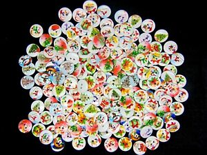 15mm -  Xmas Wooden Buttons Christmas Mix Card Making Sewing Scrapbook Craft UK