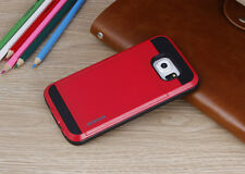 For Samsung Galaxy S6 S7 Edge Note Hybrid Bumper Card Pocket Back Case Cover
