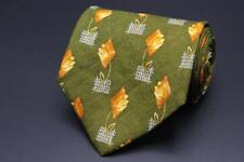 HUGO BOSS Silk Tie. Green with Yellow Floral. Made in Italy.