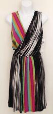 NWT MAGGIE LONDON Womens Dress Sz 4 Sleeveless V Neck Black Multi Stripe Lined