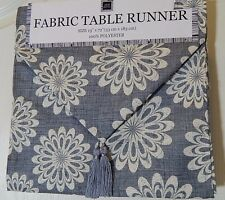 "Live Ur Lifestyle Fabric Table Runner 72"" x 13"" Slate Blue Floral"