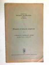 1967 bklet Measures of Syntactic Complexity fr MACHINE TRANSLATION vtg computing