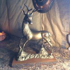 Huge Vintage Solid Brass Stag Elk on Decorative Wood Slab