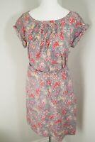 Boden Floral Dress Size 8 R Silk Blend Slip Blossom Tree Print Pockets Grey Pink