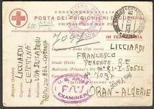 1945 WWII Red Cross US Army PW / POW Prisoner or War Censor Postal Card Algeria