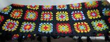 """VTG Afghan Crochet Granny Square 72""""x60"""" Blanket Handmade Black"""