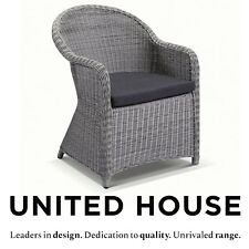 New Grey Outdoor Wicker Rattan Cane Dining Arm Chair Patio Cane Rattan Furniture