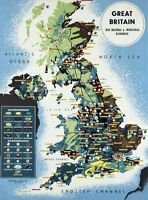 """Vintage Poster CANVAS PRINT Map of Great Britian natural resources 8""""X 10"""""""