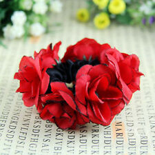 Flower Bun Warp Ring Garland Floral Head Knot Hair Top Scrunchie Band Elastic