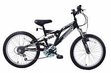 """Rock Face 20"""" Wheel Boys Kids Dual Suspension Bike Black 6 Speed Gears Age 7+"""