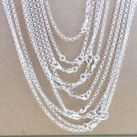 Großhandelslose 10PCS Silber Versilbert 1MM 925 silberne Rolo-Ketten-Halskette