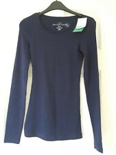H&M XS Size 6-8 Ladies Long Sleeve Navy T-Shirt BNWT