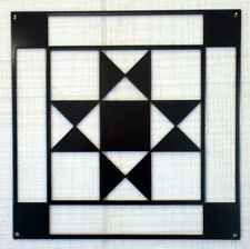 "Ohio Star- Barn Quilt - White Metal 12"" x 12"" Quilt Block Sign ..21..."