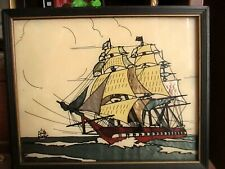 """9x11"""" Vtg Pirate ship Foil Graphic Framed Wall PICTURE"""