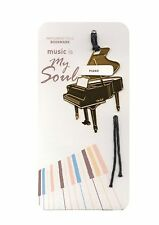 NEW polished gold metal piano bookmark with black tassel cord free postage