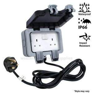 Outdoor Extension Lead Twin Waterproof Mains IP66 2 Socket - 5M Or 10M Cable