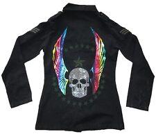 Amplified strass tête de mort ange ailes Rock Star armée militaire veste S 36