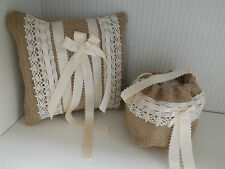 Hessian antique lace & ribbon Matching ring cushion/pillow & petal flower bag