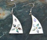 Mexican Earrings Alpaca Silver Abalone Vintage Dangle White Enamel Inlaid A09