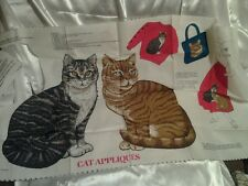 2 Tabby Cats Cotton fabric Appliqués