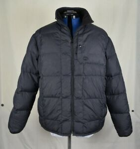 Timberland Quilted Down Feather Fill Full Zip Black Puffer Jacket Men's Large
