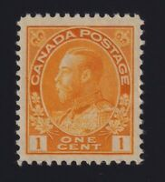 Canada Sc #105f (1922) 1c yellow Admiral Die I Dry Printing Mint VF NH